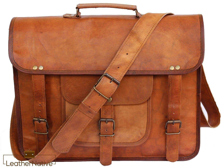 New Large Men's Genuine Vintage Leather Messenger Laptop Briefcase Satchel Bag Pre Valentines Day Special Sale!