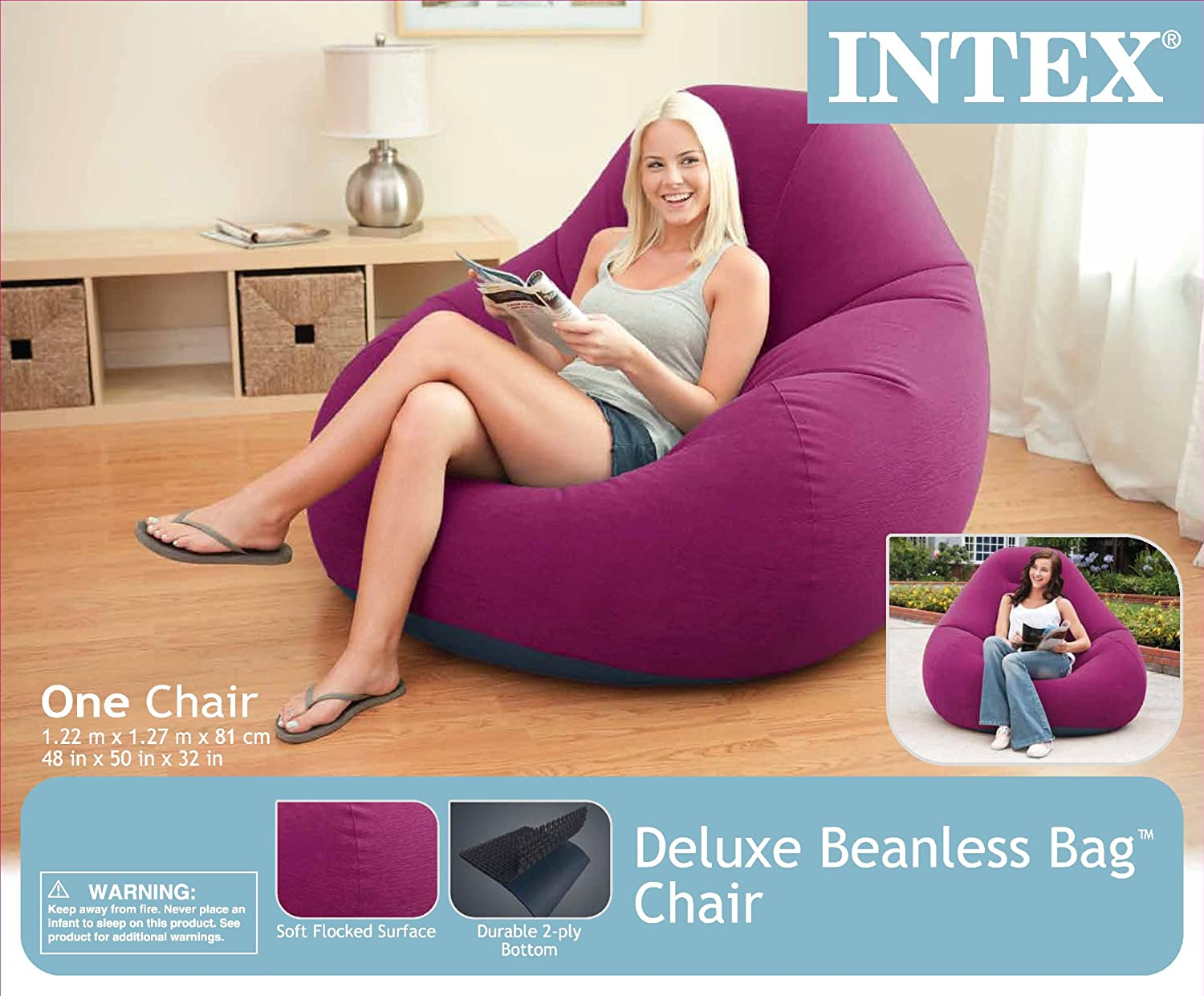 Deluxe Beanless Bag Chair.Intex Deluxe Beanless Bag Inflatable Chair 48 X 50 X 32 Grape