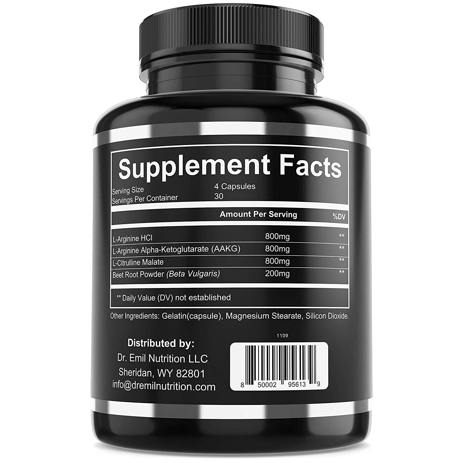 Dr. Emil – Nitric Oxide Supplement with L Arginine AKG, L Citrulline Malate Beet Root – NO Booster for Muscle Growth, Vascularity Endurance 120 Capsules