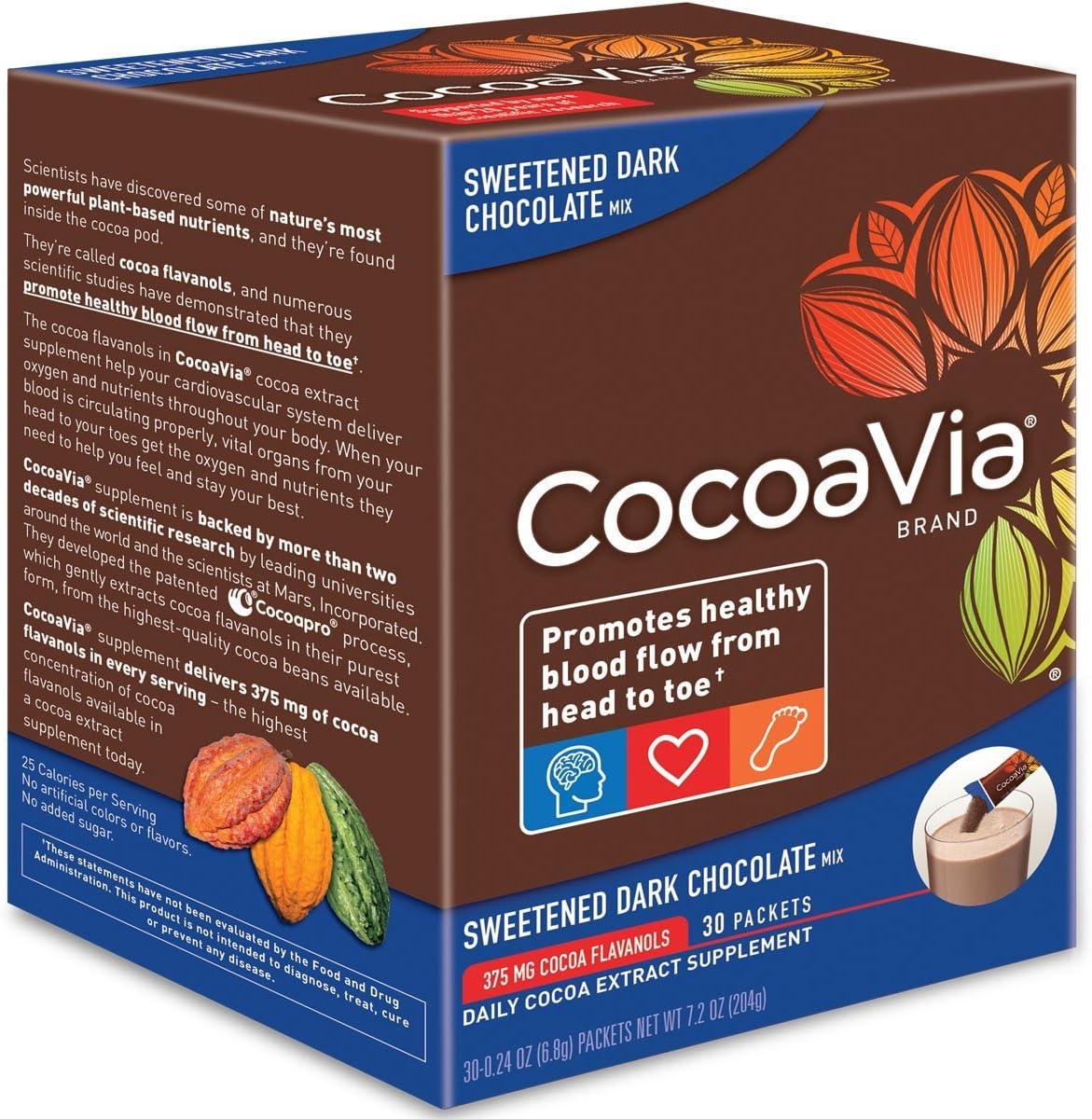 CocoaVia Brain Heart Supplement, Sweetened Dark Chocolate Flavor, Powdered Mix, 375mg Cocoa Flavanols, 30-Day Supply