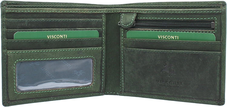 Visconti Cartera SHIELD de Cuero Engrasado 707 Azul Petr/óleo RFID