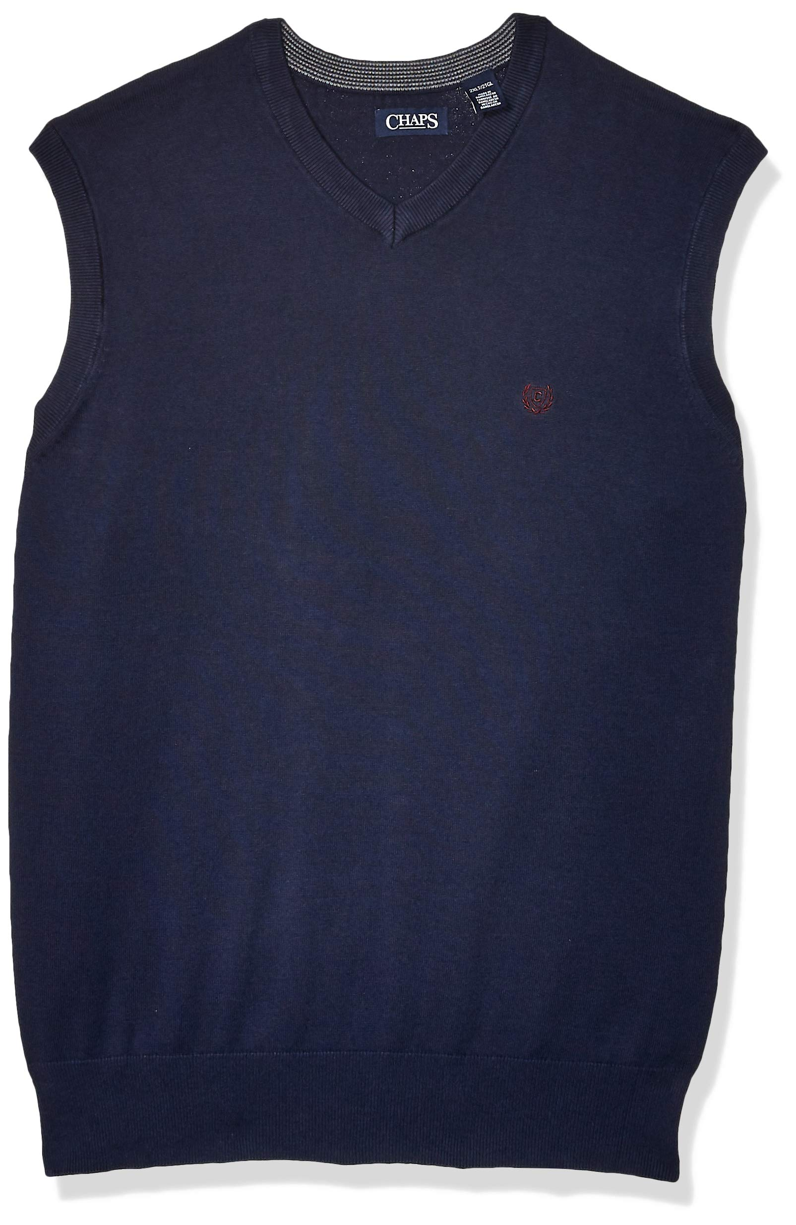 Chaps Men's Big and Tall Cotton V-Neck Sweater Vest, Newport Navy, XLT by Chaps