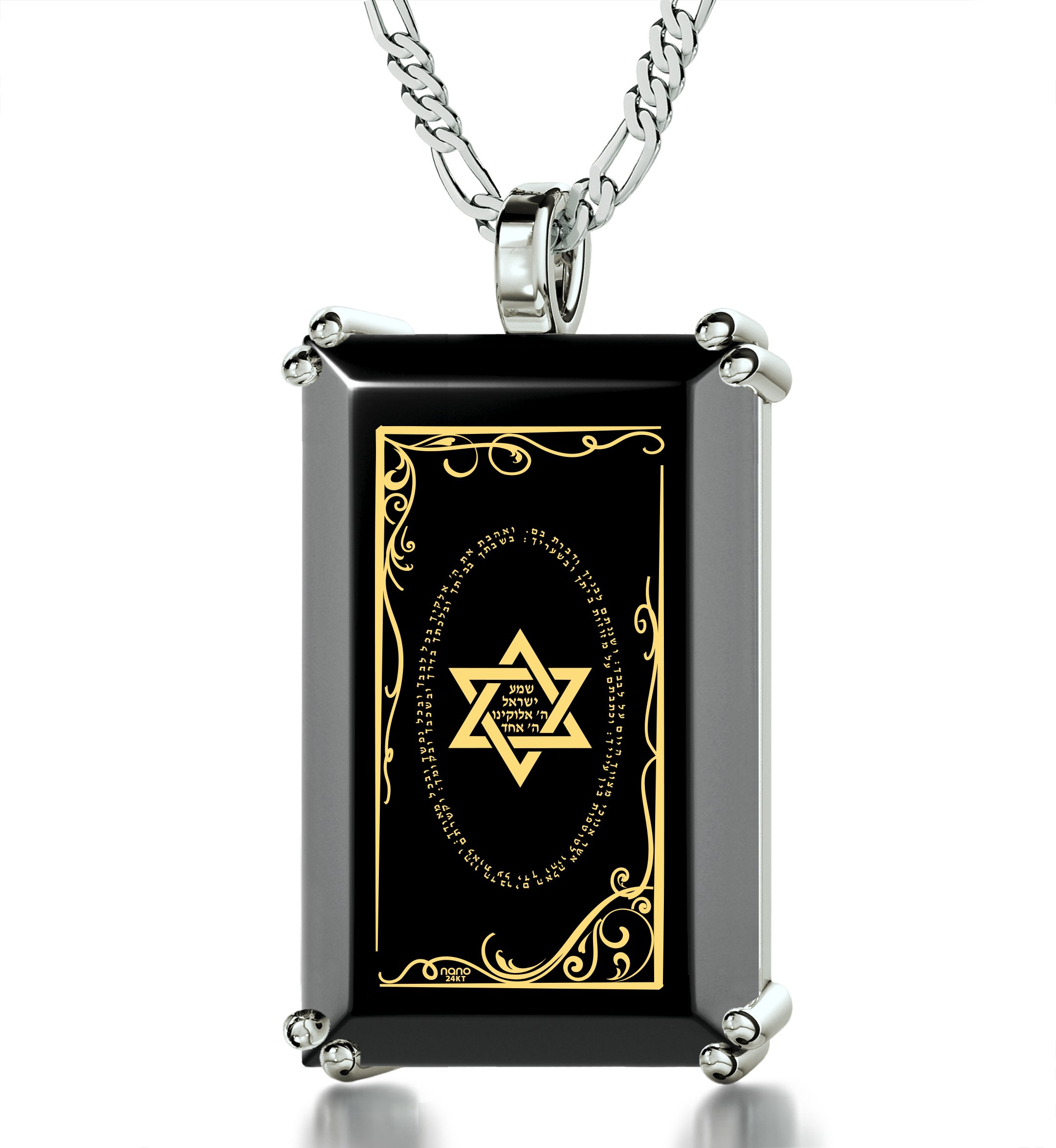 Star of David Necklace for Men - Shema Israel Pendant in 925 Silver - Hebrew Inscribed in 24K on Onyx Stone by Nano Jewelry