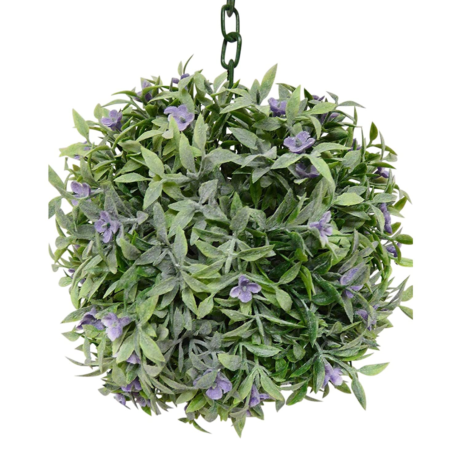 Artificial Topiary Balls - Large 20cm Green with Purple Flowers Hanging Artificial Buxus Boxwood Topiary Ball UK-Gardens
