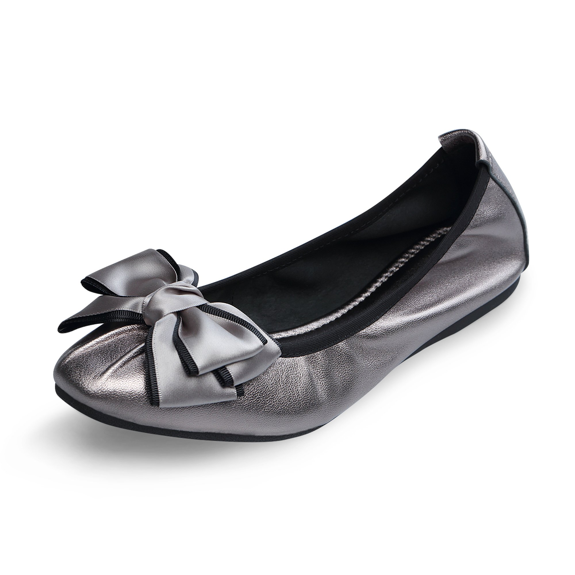 linzhiqun Women's Emmie Chaste Ballet Flat Bowknot Lambskin Loafers Casual Ladies Shoes Leather Silver 9