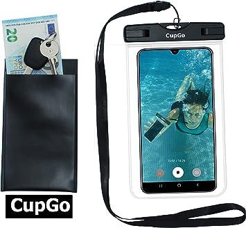 CUPGO - Funda impermeable para teléfono móvil, protección contra el polvo, bolsa de buceo subacuático, compatible con smartphone iPhone X 8 7s SE Samsung S9 S8 S7 Edge hasta 6 pulgadas: Amazon.es: Electrónica