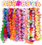 Hawaiian Luau Party Supplies-Hawaiian Leis(36Ct) with (16pcs)Hawaiian Flower Hair Clips, Perfect for Your Hawaii Luaus