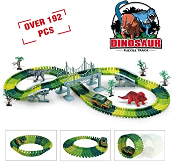 192-Pieces TAZHAI Dinosaur Toys Race Car Flexible Track