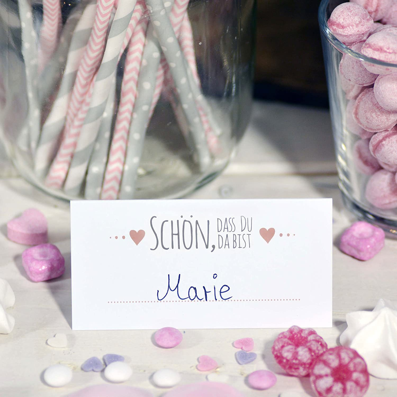 Frau wundervoll 50 tischkarten schön dass du da bist weiss mit aufdruck rosa grau platzkarten tischkarte weiß hochzeit tischkarte zum beschriften