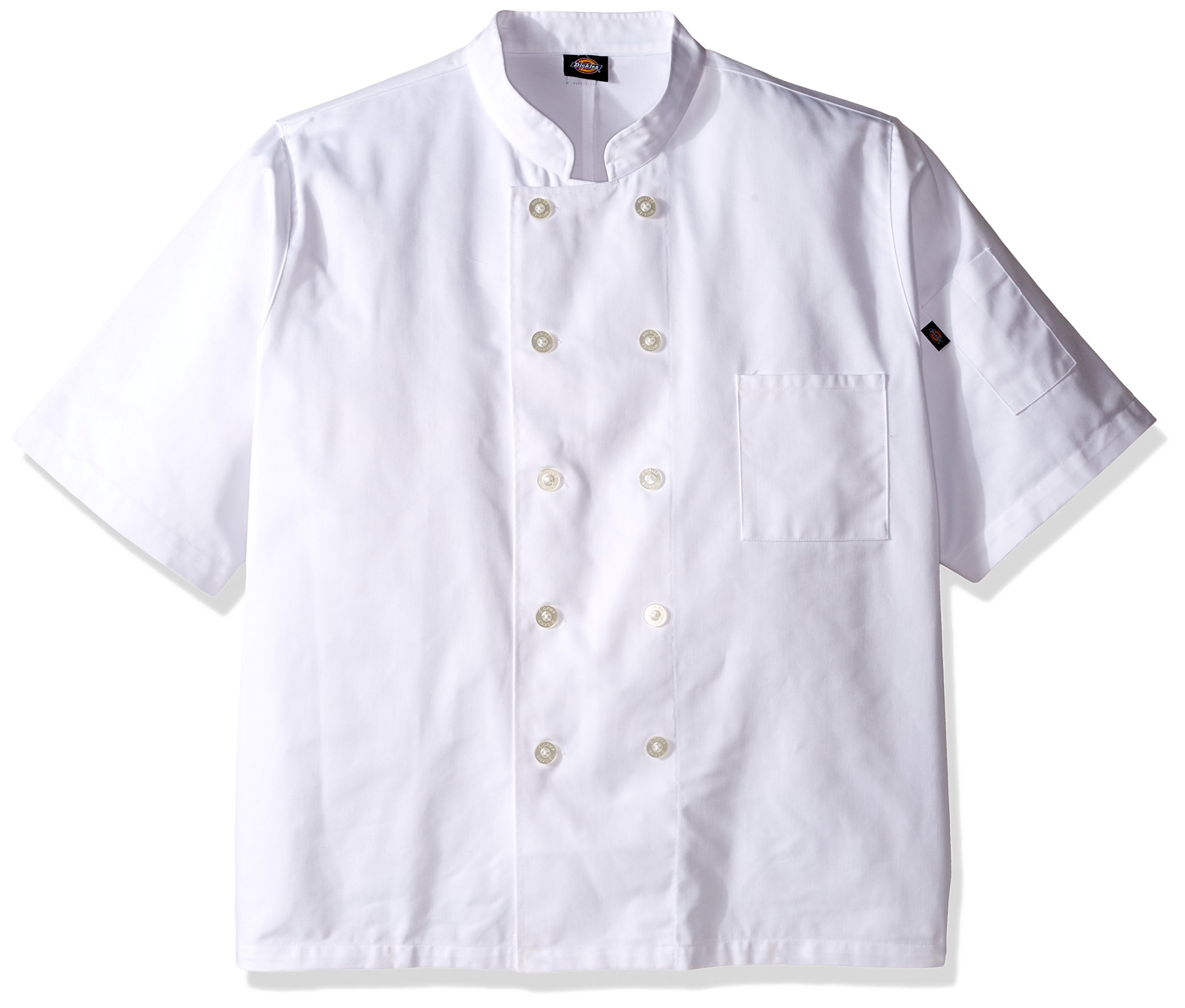 Dickies Chef Classic 10 Button Short-Sleeve Coat, White, XXX-Large