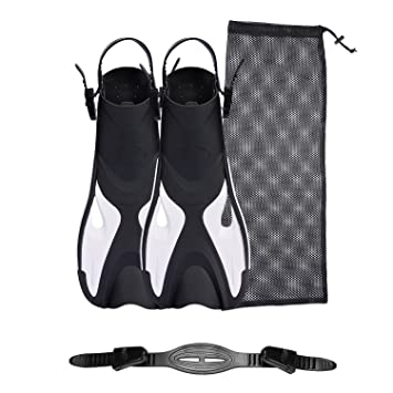 Amazon.com: Snorkel de buceo con aletas cortas con bolsa de ...