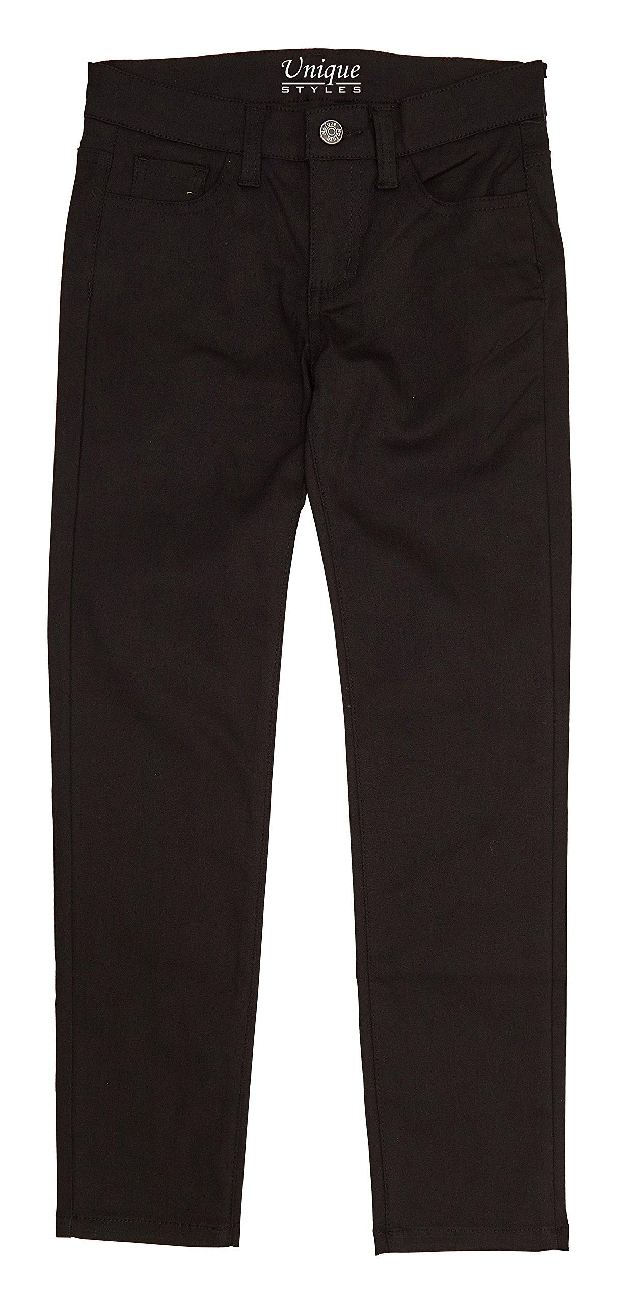 Girls Cotton Pants Straight Leg Flared Bottom Solid Casual School Uniform Trouser (Black - 1, 10)
