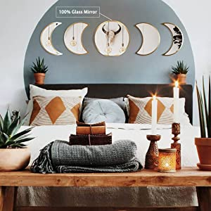DOHEEM Moon Phase Mirror Set/ 5pcs Scandinavian Natural Decor Stainless Steel and Glass Moonphase Mirrors Interior Design Bohemian Wall Decoration for Room (Gold)