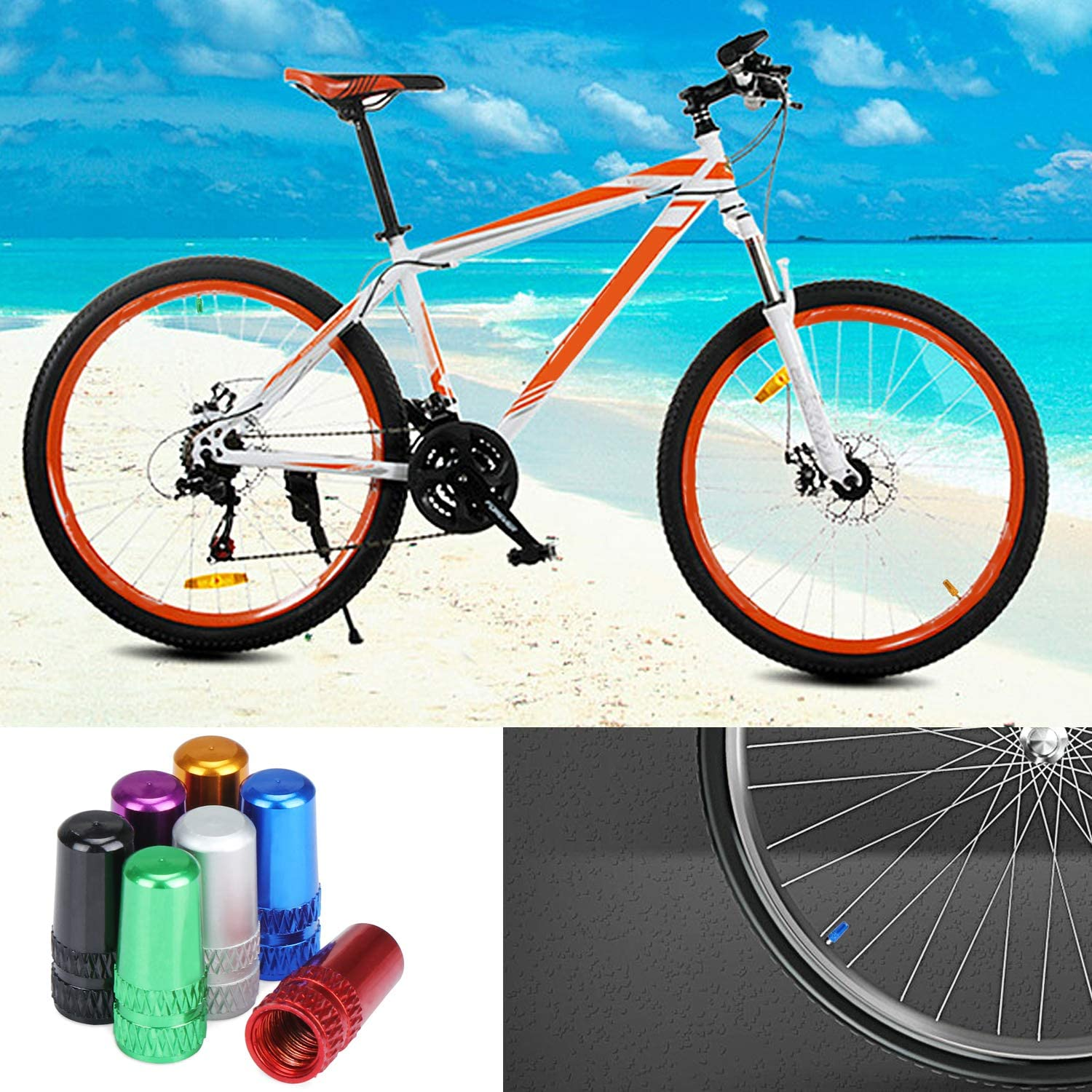 Aluminum Alloy Bike Dust Caps 7 Color Bicycle Tire Valve Caps 42 Pieces OCR French Tyre Caps Cycling Valve Covers