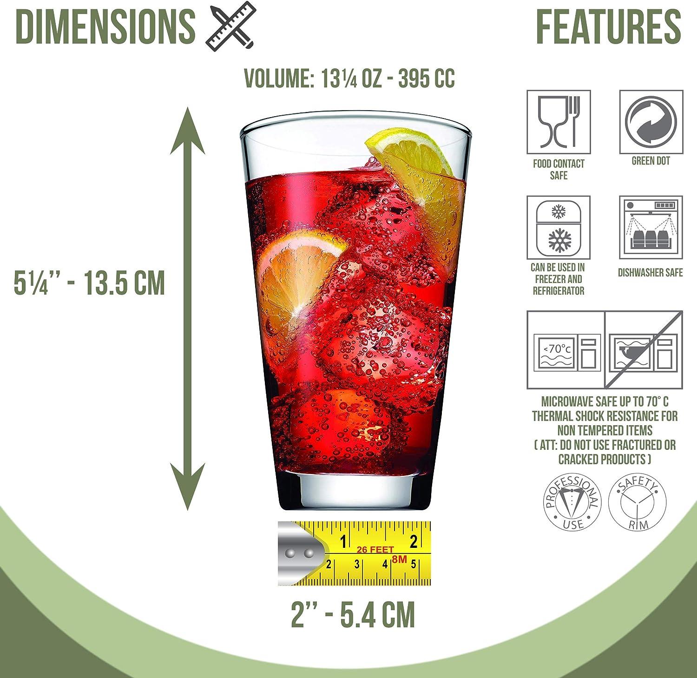 bebidas hotel 6x 400cc bares agua Bebidas fr/ías y suaves Vasos de beber de primera calidad para el hogar Vaso de cristal oficina