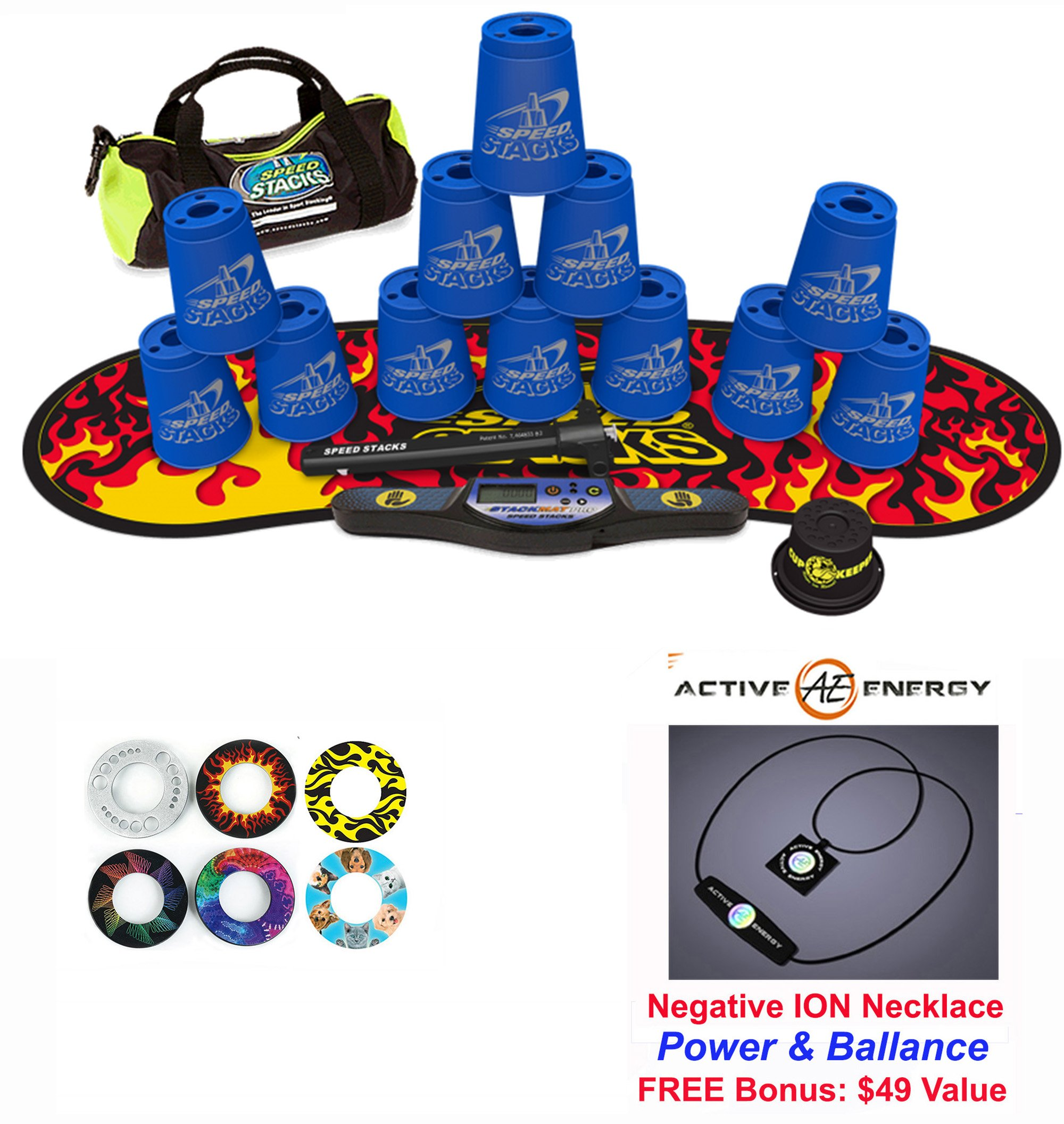 Speed Stacks Custom Combo Set - The Works: 12 BLUE 4'' Cups, Cup Keeper, Quick Release Stem, Pro Timer, Gen 3 Premium Black Flame Mat, 6 Snap Tops, Gear Bag + FREE: Active Energy Power Necklace $49
