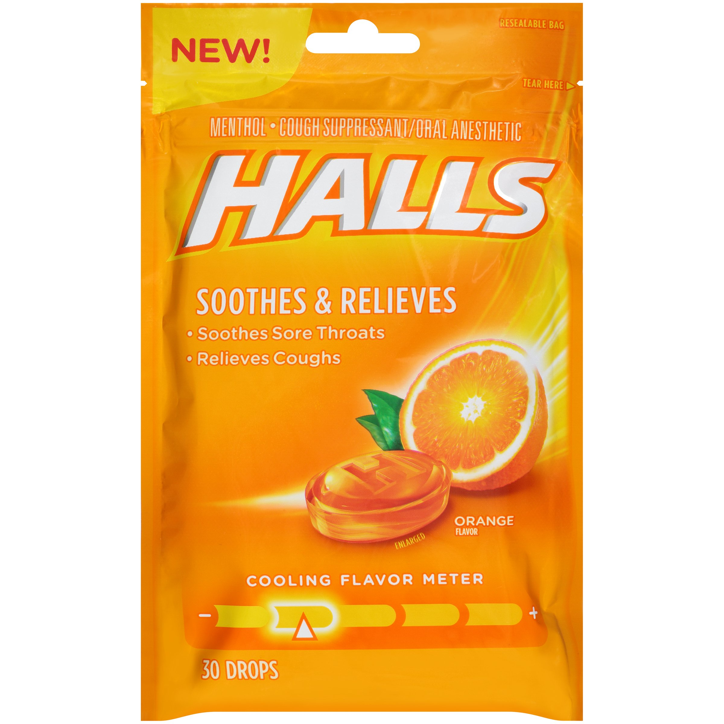 Halls Orange Cough Drops - with Menthol - 30 Drops (1 bag of 30 drops) by Halls (Image #1)