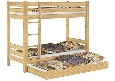 Letto castello 90x200 con assi di legno, 3 materassi e cassettone ...