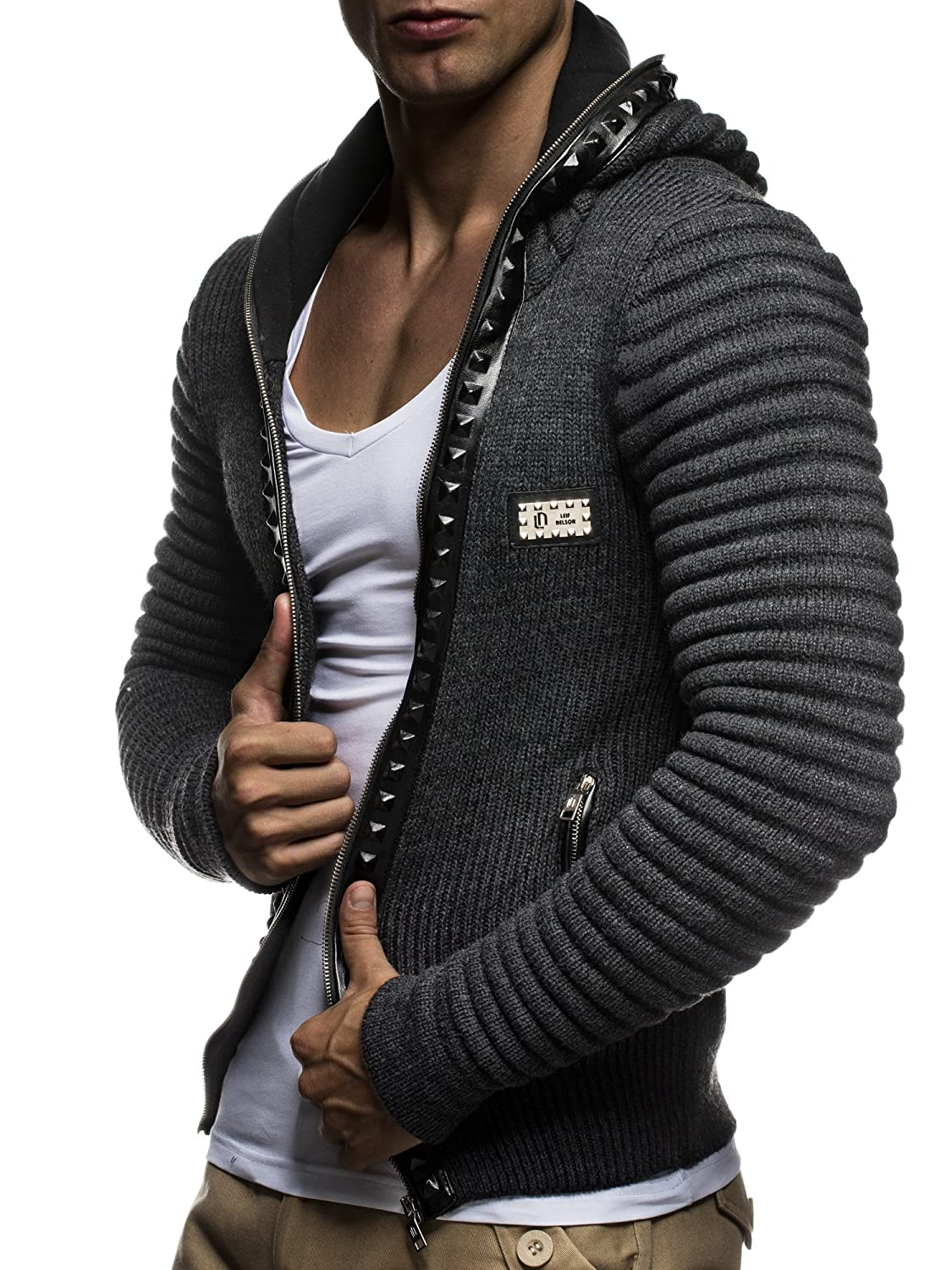 LEIF NELSON Men's Knitted Jacket With Hood And Studs Quilted Biker ...