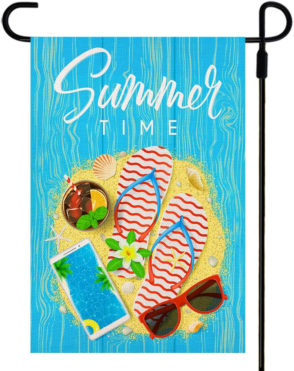 Yileqi Summer Time Garden Flag Vertical Double Sided Flip Flops Sunglasses Pool Ice Coke Beach Flag, Seasonal Burlap Small Yard Flag Summer Outdoor Decoration 12 .5 x 18 Inches