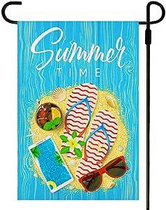 Yileqi Summer Time Garden Flag Vertical Double Sided Flip Flops Sunglasses Pool Ice Coke Beach Flag, Seasonal Burlap Small Yard Flag Summer Outdoor Decoration 12 .5 x 18 Inches