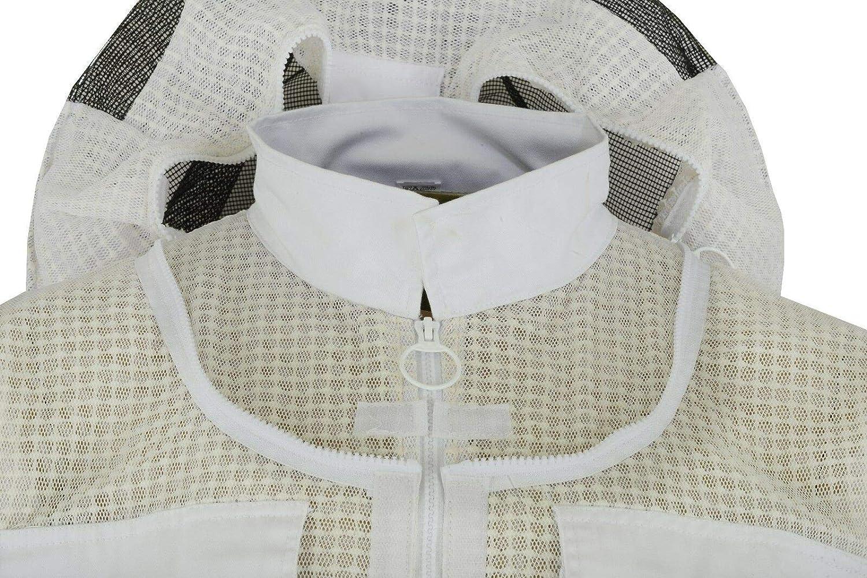 apicultores Traje de Abeja Traje fency Velo BeeProUk 3 Capas de Traje de Apicultura de Malla de Tela Blanca Unisex Protectora de Seguridad Ultra ventilada