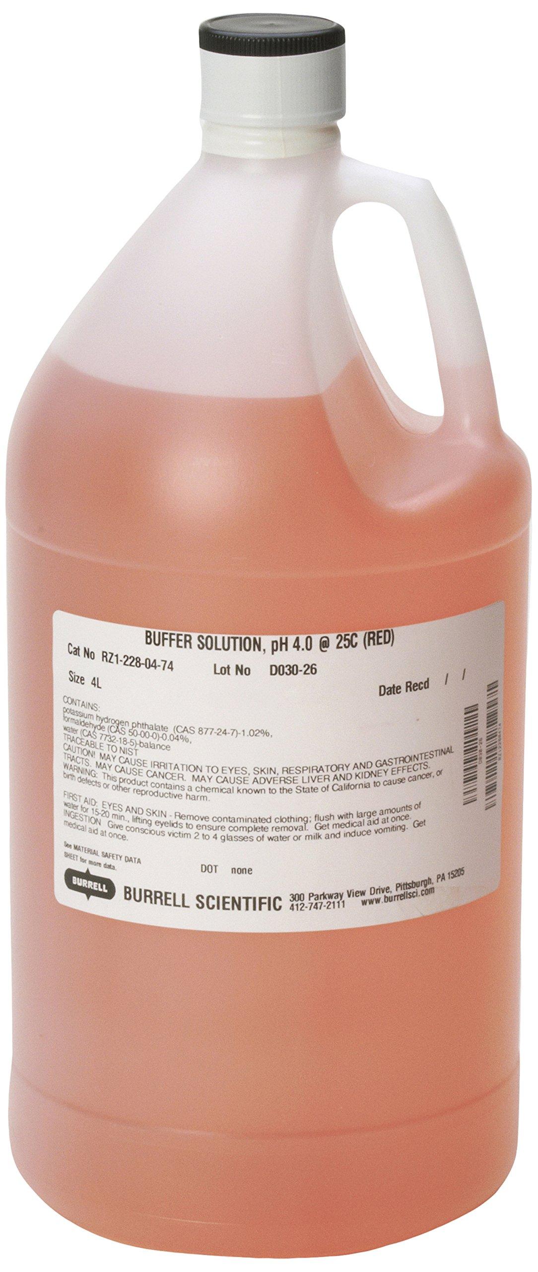 Burrell Scientific RZ1-228-04-74 Buffer Solution, 4.0 pH, 4 L, Red