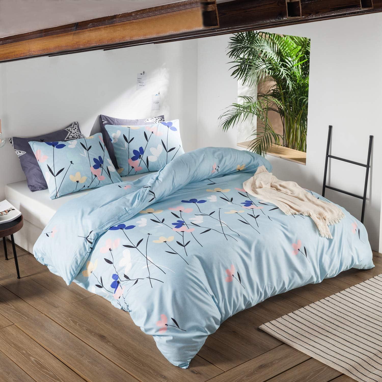 violet Polyester Polycoton Coton Double ENZER Parure de lit avec housse de couette et 2 taies doreiller Motif floral