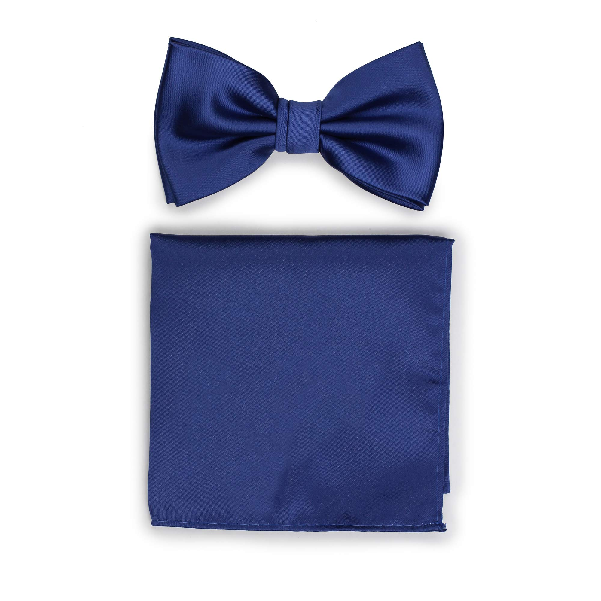 Bows-N-Ties Men's Solid Adjustable Pre-Tied Bow Tie and Pocket Square Set (Royal Blue) by PUCCINI