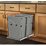 Rev-A-Shelf - RV-18KD-17C S - Double 35 Qt. Pull-Out Silver and Chrome Waste Container