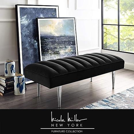 Awesome Nicole Miller Raul Bench Velvet Upholstered Channel Tufted Mirrored Metal Legs Glam Black Chrome Dailytribune Chair Design For Home Dailytribuneorg