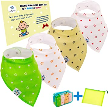10 Pack Organic Cotton Bandana Bibs with Adjustable Snaps|Stylish Patterns|Super Soft and Absorbent Baby Shower Gift Set|Newborn Toddler Washable Saliva Cloths for Drooling /& Teething Baby Boy Bibs