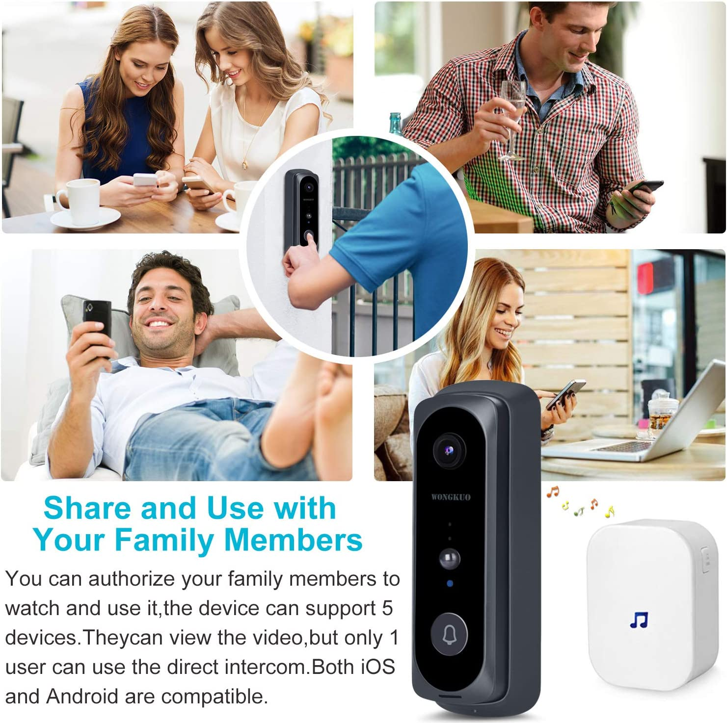 Video Doorbell WONGKUO Wireless Video Doorbell Camera 720P HD 166/° Security Smart WiFi Doorbells with Indoor Chime,2 Rechargeable Batteries,Motion Detection,Real-Time Video,Two-Way Talk,Night Vision