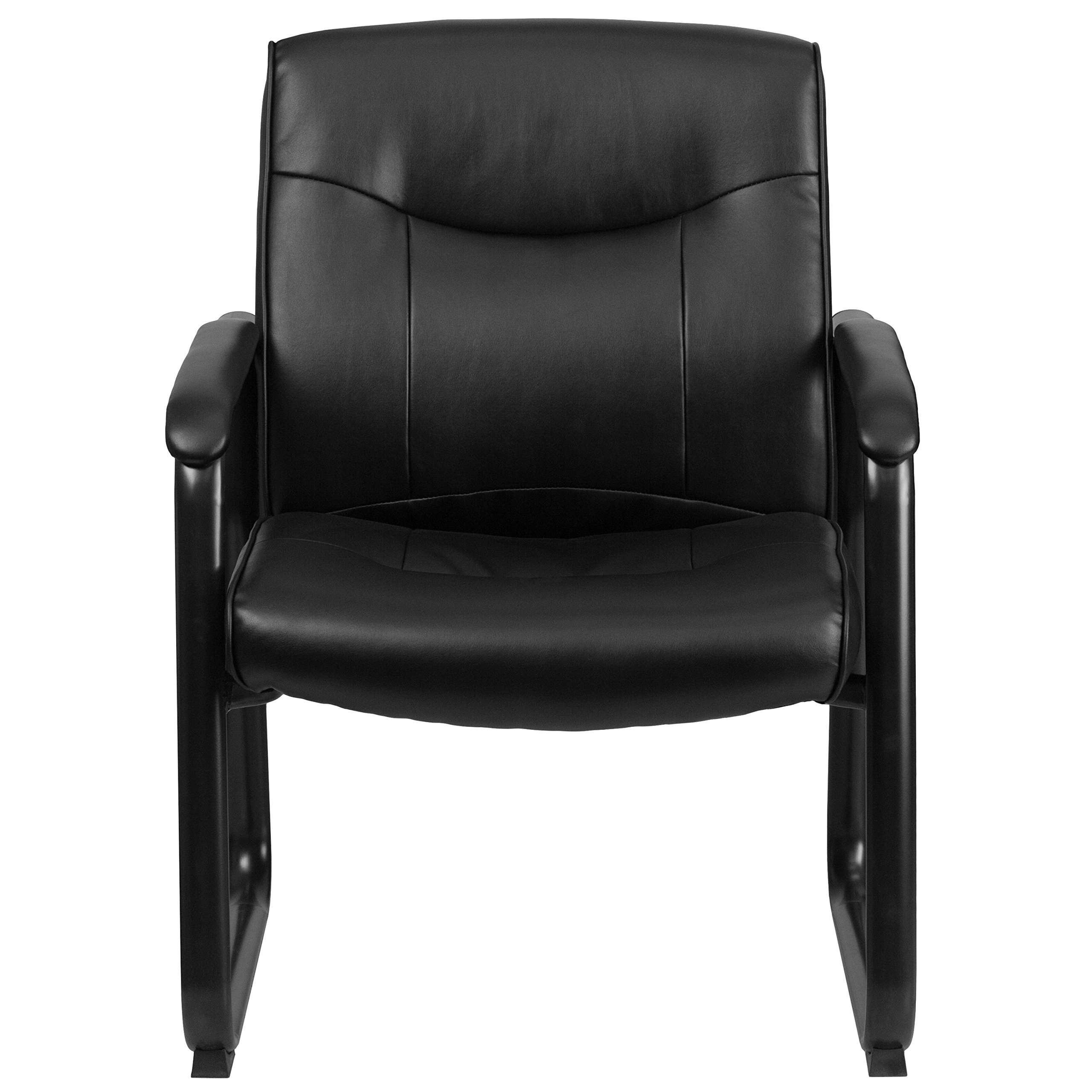 Flash Furniture Hercules Series Big and Tall Leather Executive Side Chair with Sled Base and Padded Arms, 500-Pound, Black by Flash Furniture (Image #4)