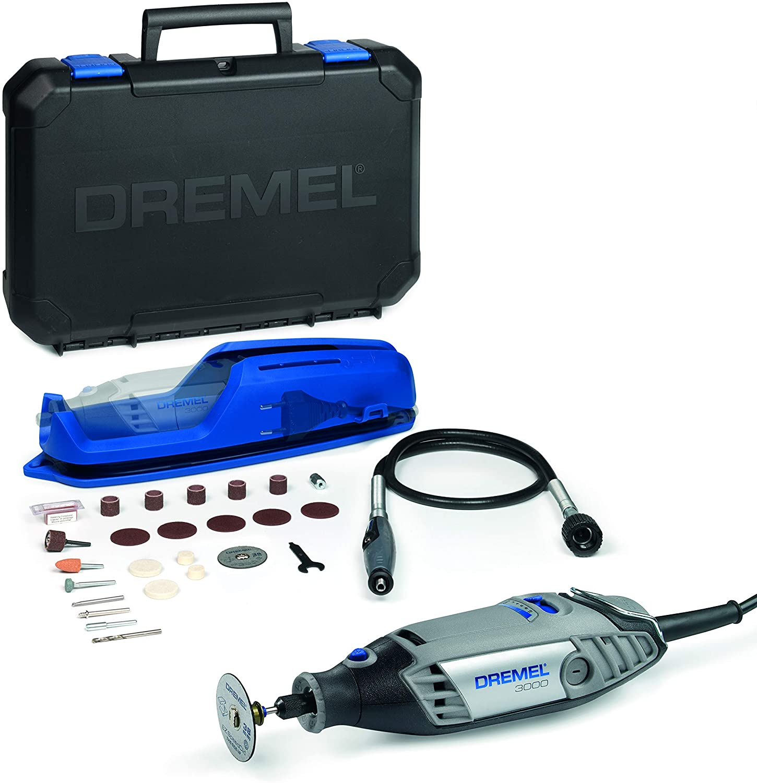Dremel 3000 - Multiherramienta 130 W, kit con 1 complemento y 25 accesorios, velocidad variable 10.000 - 33.000 rpm para tallar, grabar, fresar, amolar, limpiar, pulir, cortar y lijar