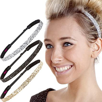 Hipsy Women's Adjustable NO SLIP Skinny Bling Glitter Headband Multi 3pk (Black/Gold/Silver) best fashion headbands