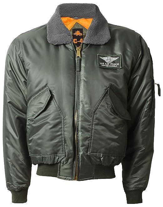 C4, Chaqueta bomber para hombre MA2/MA1, estilo militar, piloto, combate verde Grey Khaki XX-Large: Amazon.es: Ropa y accesorios
