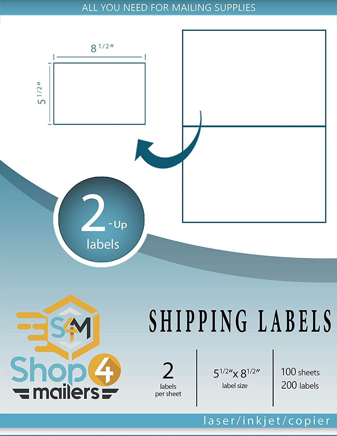 Shop4Mailers 2-Up White Shipping Labels 5 1//2 x 8 1//2 ~ 100 Sheets 200 Labels