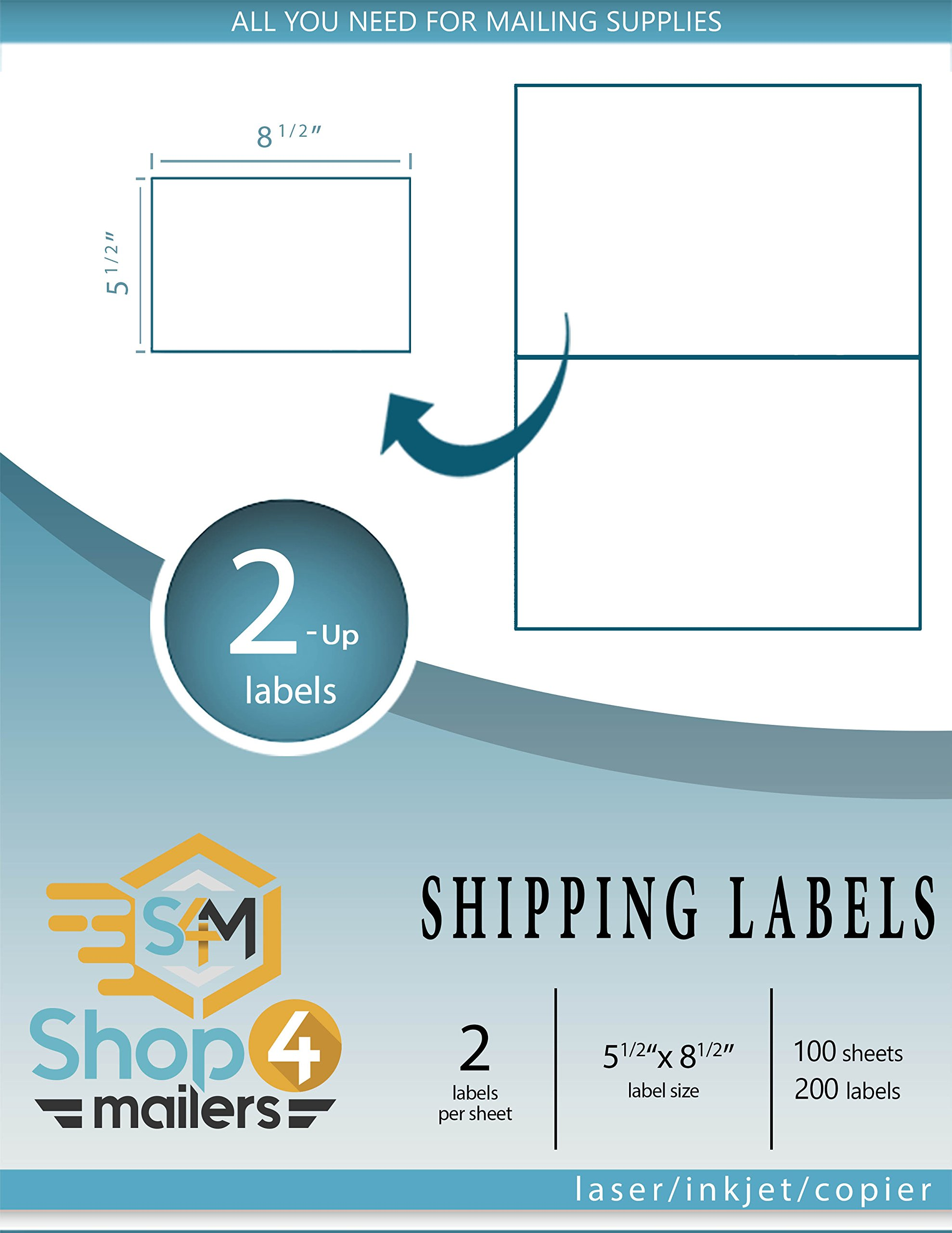 Shop4Mailers 2-up White Shipping Labels 5 1/2'' x 8 1/2'' ~ 100 Sheets, 200 Labels