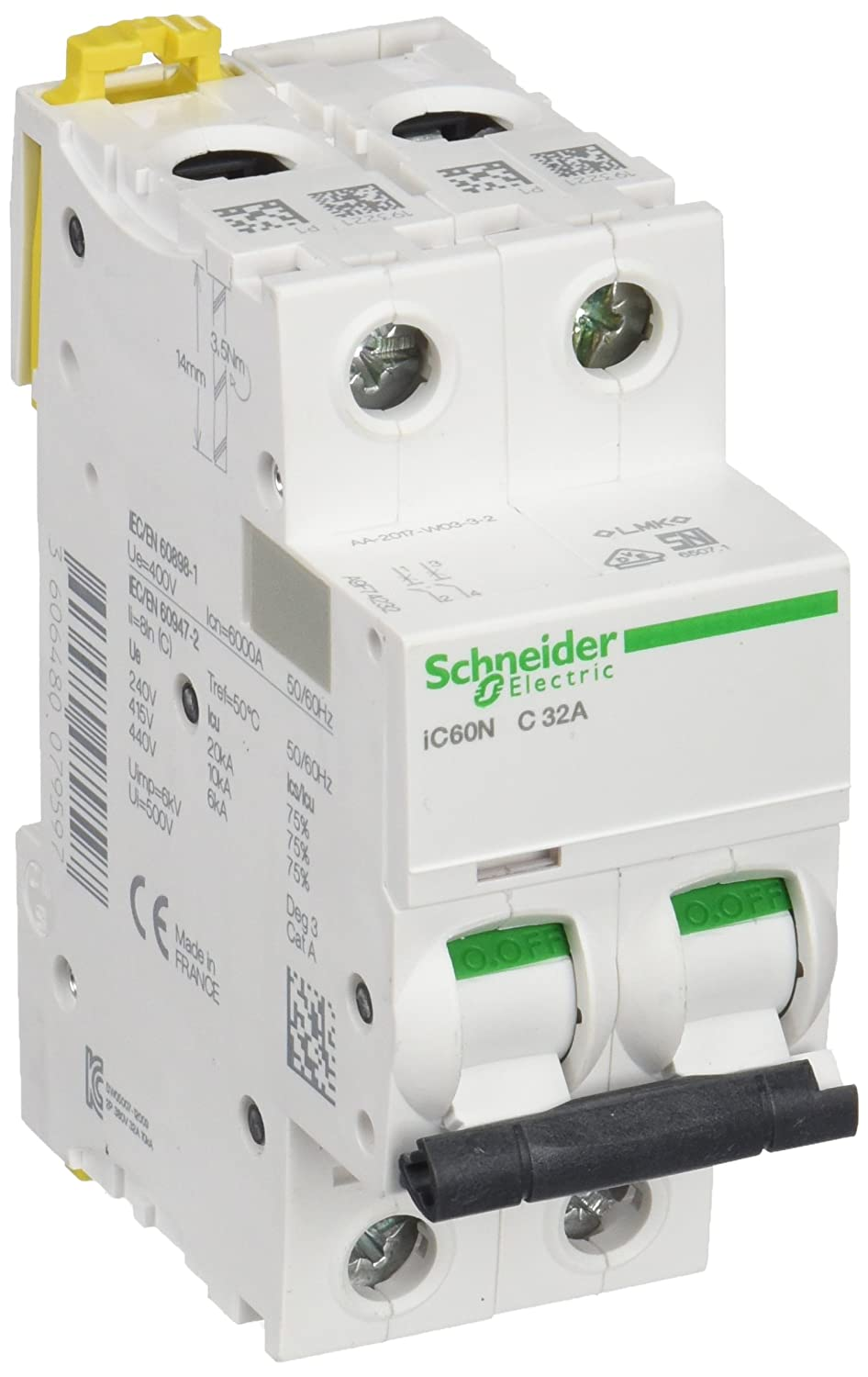 Schneider A9f74232 Ic60n 2p 32a C Mcb Miniature Circuit Breaker Off Module View White Set Of 6 Piece Business Industry Science