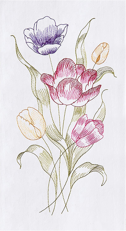 C&F Home Tulip Flour Sack Kitchen Towel White