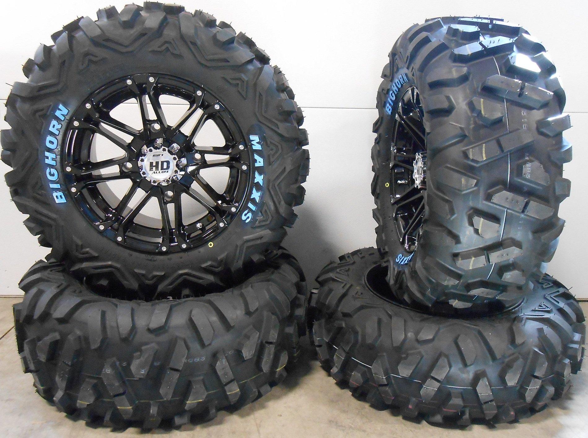 Bundle - 9 Items: STI HD3 14'' Wheels Black 26'' BigHorn Tires [4x156 Bolt Pattern 3/8x24 Lug Kit]