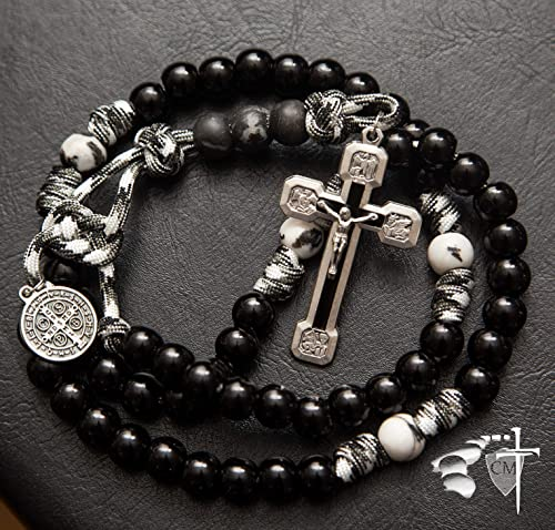 Black Armour of God Paracord Rosary – Natural Stone Our Father beads