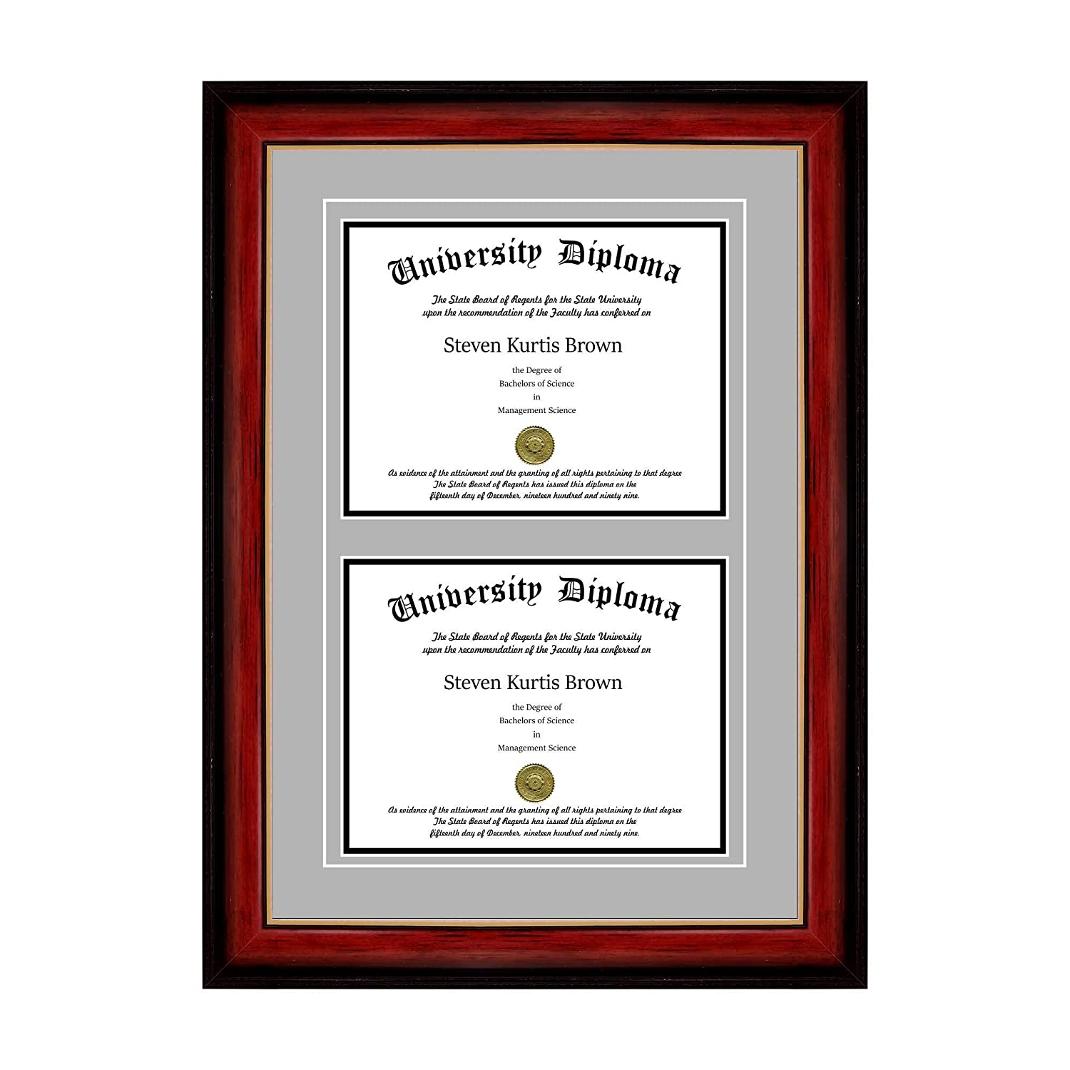 com double diploma frame double matting for x  com double diploma frame double matting for 8 5 x 11 tall diploma mahogany gold lip 2 frame