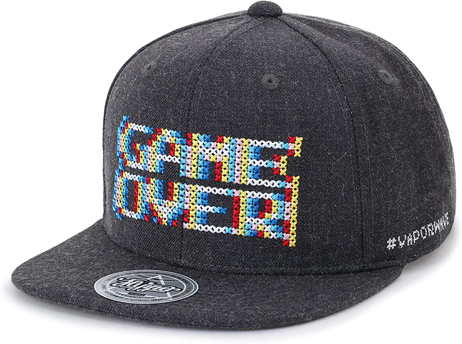 ililily Game Over Embroidery Vintage Baseball Cap Flat Bill Trucker Hat