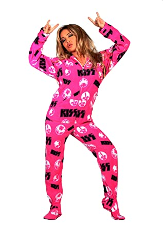 3b6cf6b57 Amazon.com  KISS Strutter Pink Hooded Adult Onesie Footed Pajamas ...