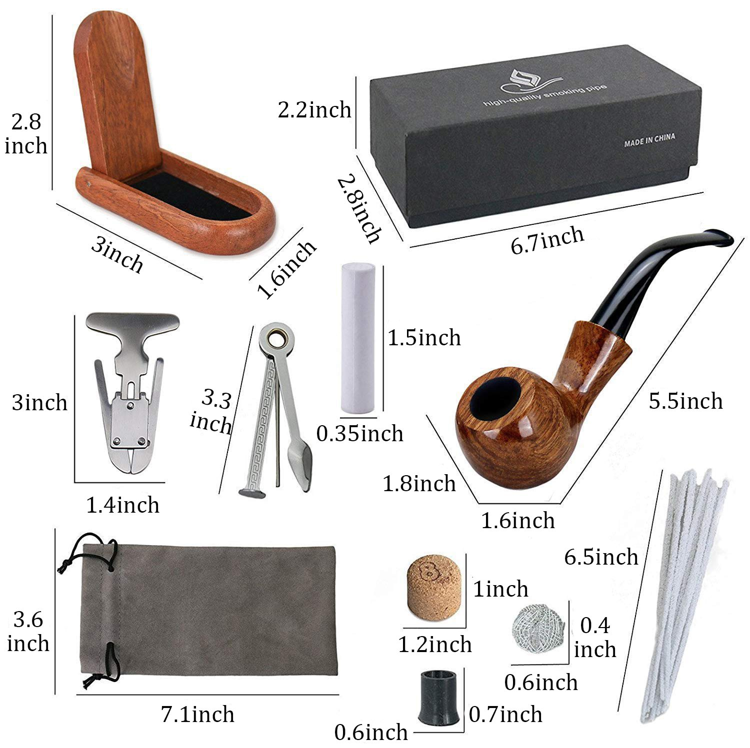 Joyoldelf Rosewood Tobacco Pipe Set with Wooden Stand, Reamer & 3-in-1 Pipe Scraper, 20 Pipe Cleaners & Pipe Filters, 2 Pipe Bits & Metal Balls, Cork Knocker, Pipe Pouch, Bonus a Gift Box XX013US