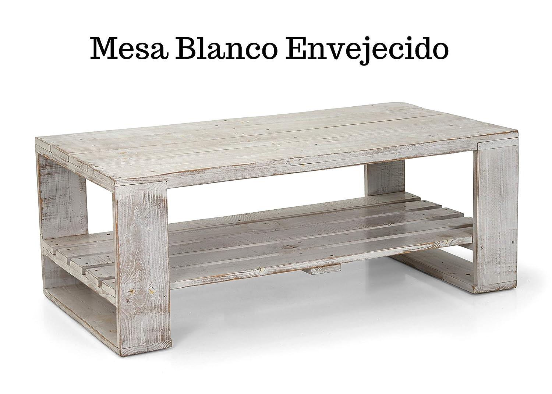 Mesa de Palets Pintada en Color Blanco Envejecido - Diseño Moderno ...