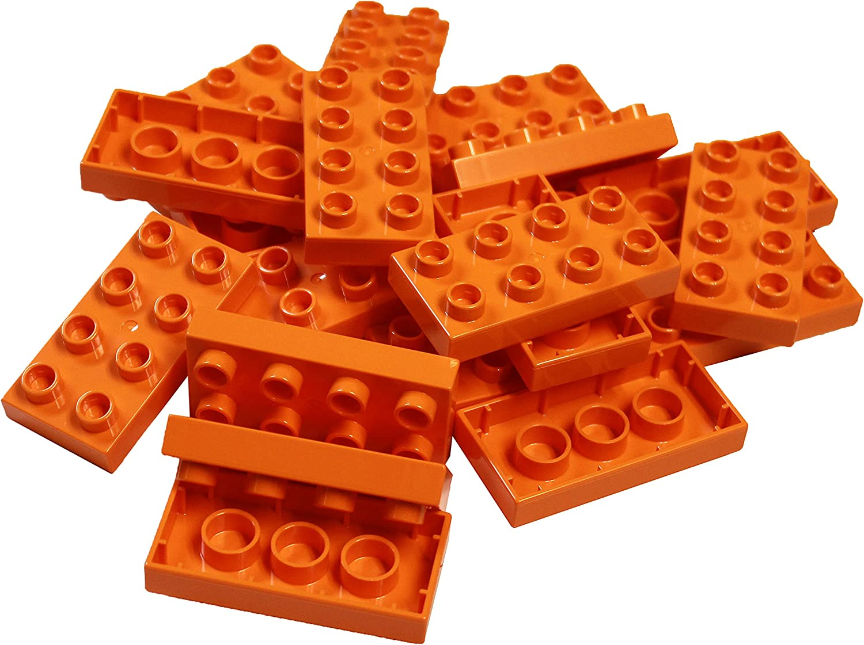 LEGO Parts and Pieces: DUPLO Orange (Bright Orange) 2x4 Plate x20