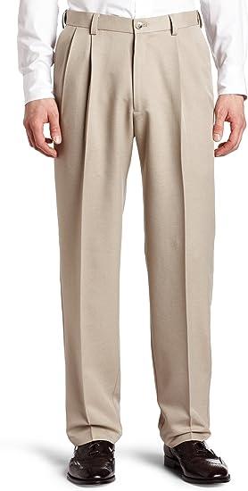 Haggar Mens Cool 18 Melange Herringbone Pleat Front Pant